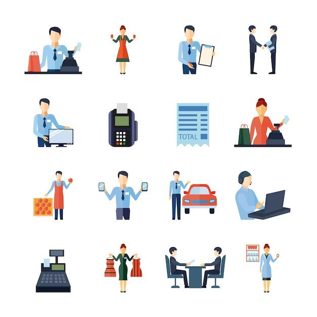 Set di icone di agente immobiliare commesso venditore e altri venditori figure Vettore gratuito