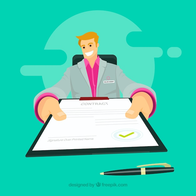 Salesman with contract Free Vector