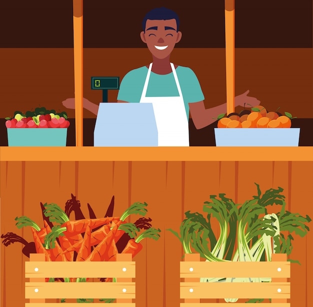 Salesman with stall kiosk of store vegetables Premium Vector
