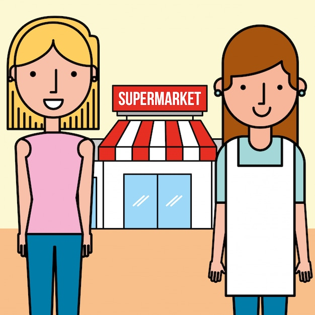 Saleswoman and customer woman supermarket people Free Vector