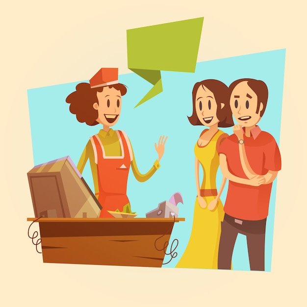 Saleswoman and customers at pay desk retro background Free Vector