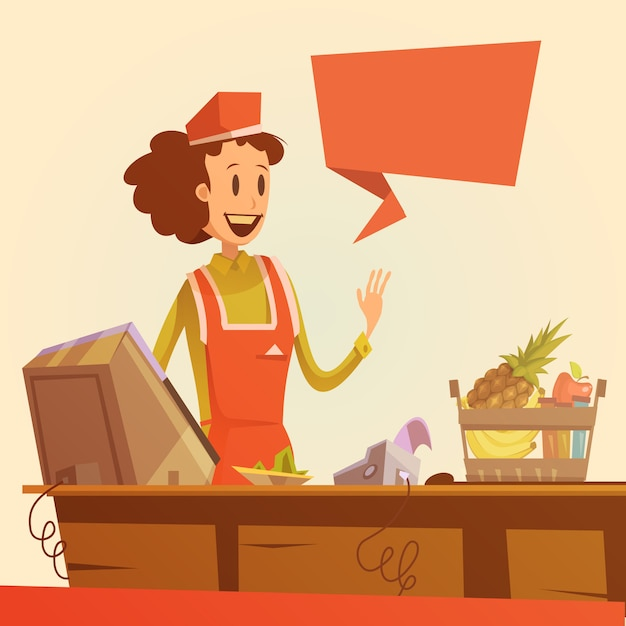 Saleswoman retro illustration Free Vector