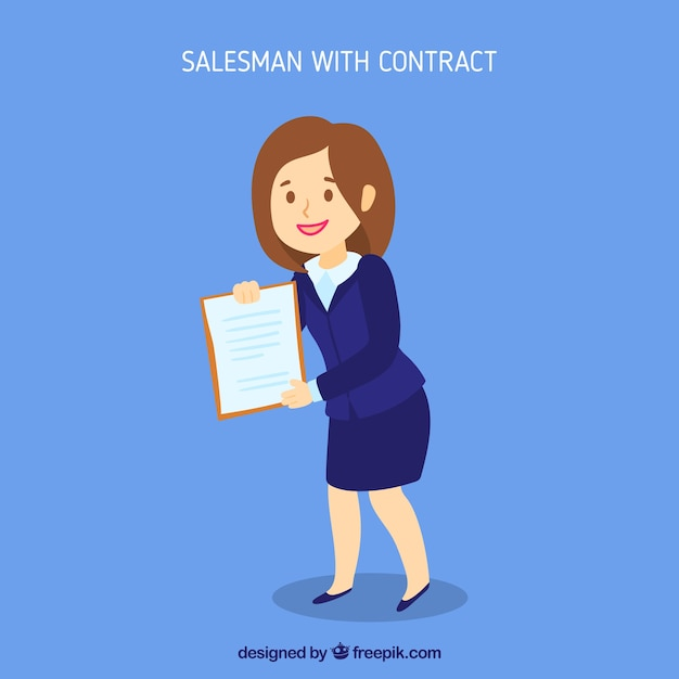 Saleswoman with contract Free Vector