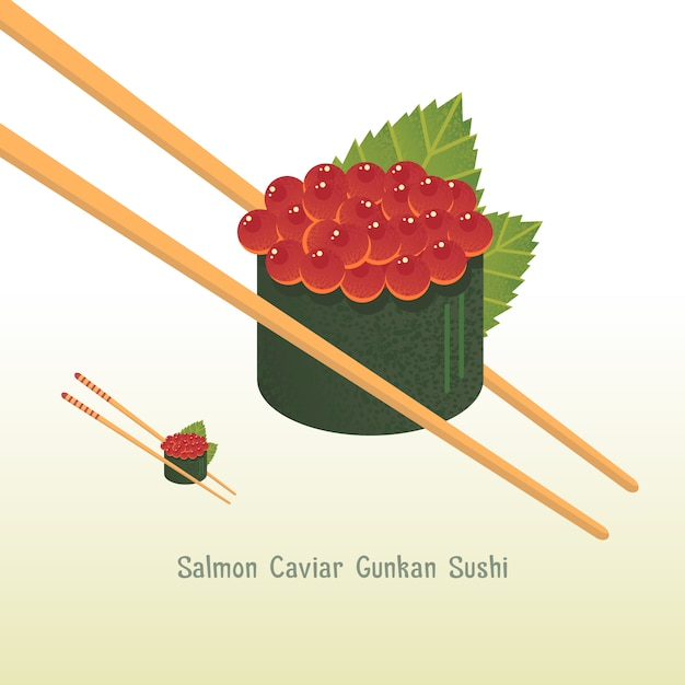 Salmon caviar sushi background Free Vector