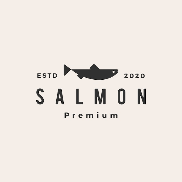 Salmon fish hipster vintage logo  icon illustration Premium Vector