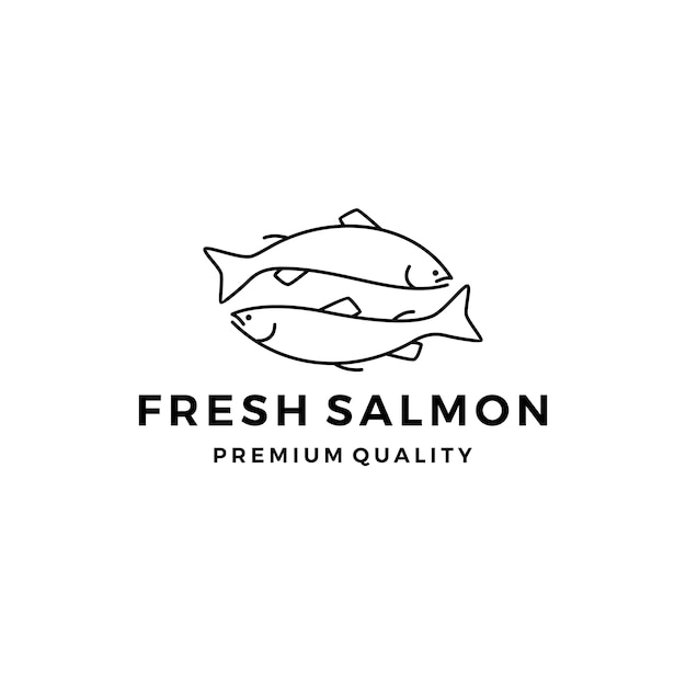 Salmon fish logo seafood label badge vector sticker download Premium Vector
