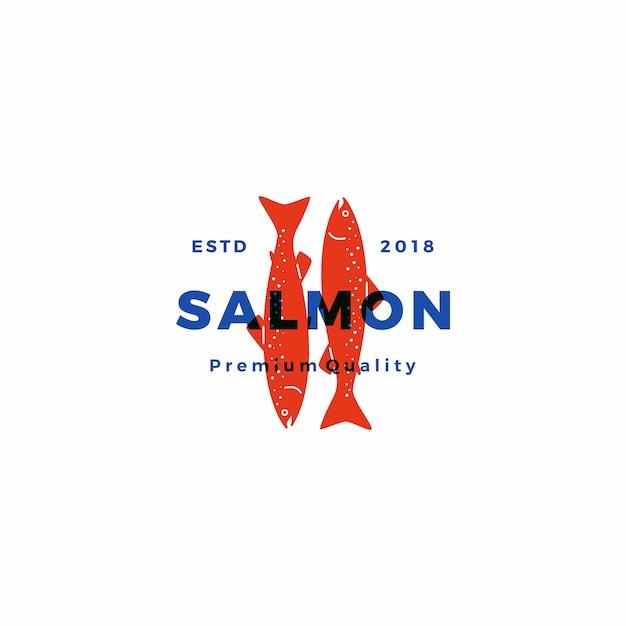 Salmon fish logo seafood label badge vector sticker download Premium Vector