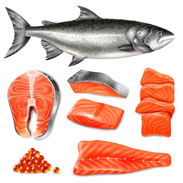 Salmon fish raw steaks and caviar icons set isolated on white Free Vector