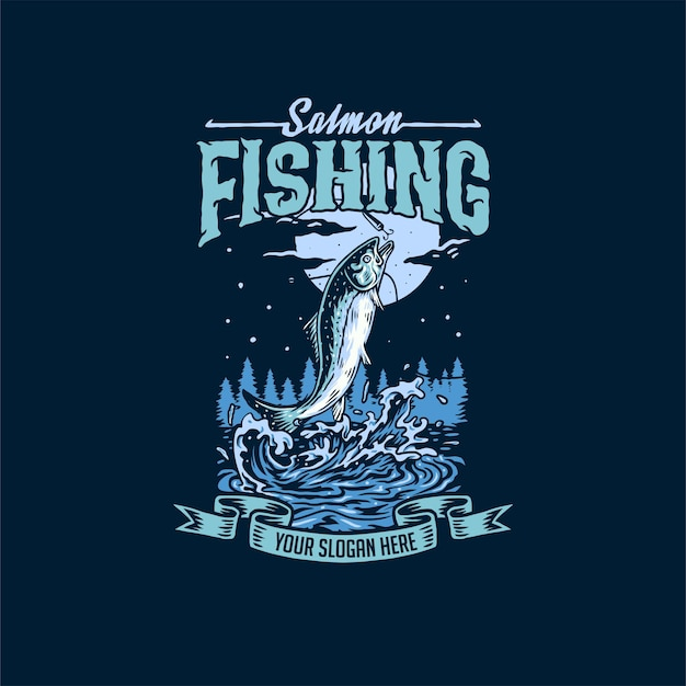 Salmon fishing hand drawn line style with digital color illustration Premium Vector