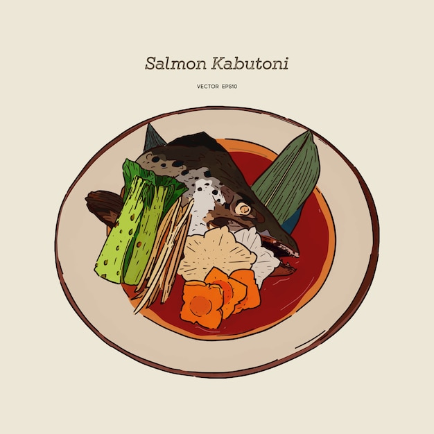 Salmon kabutoni steamed. japanese food style salmon head boiled in soy sauce with vegetables and tofu.hand draw vector Premium Vector