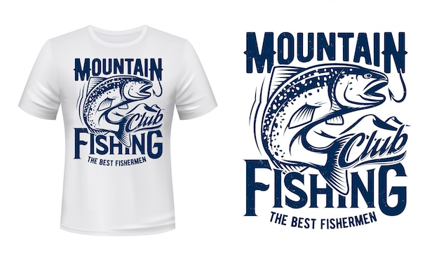 Salmon or trout fish t-shirt print, fishing club Premium Vector