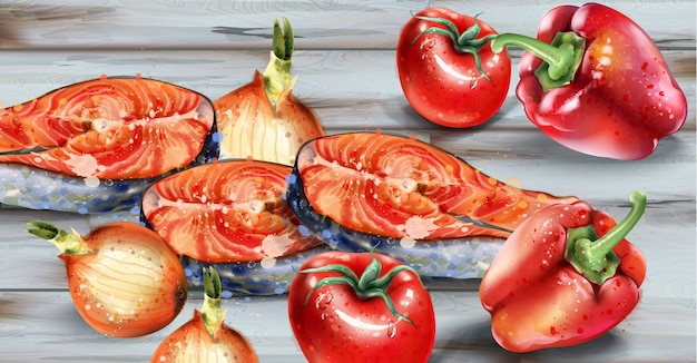Salmon and veggies watercolor. fresh fish with onion and pepper on wooden top Premium Vector