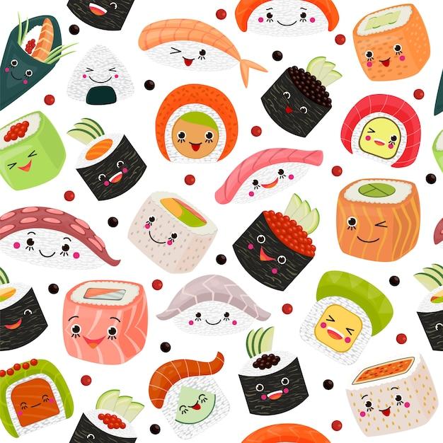 Еда шаржа суш японская, иллюстрация. милый salmon сасими с рисом, морепродуктами на белой предпосылке. кухня с морскими водорослями Premium векторы