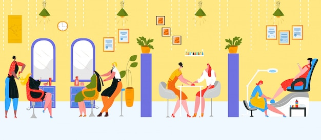 Salon for beauty treatment,  illustration. business style interior for female people, cosmetic, spa and barber hair service, manicure. fashion lifestyle work, stylist care about  woman. Premium Vector