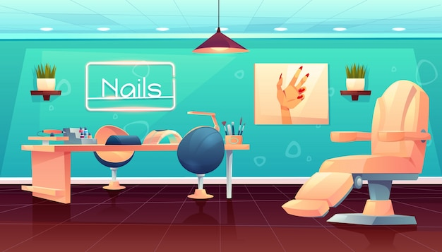 Salon for manicure, pedicure nails care procedures Free Vector