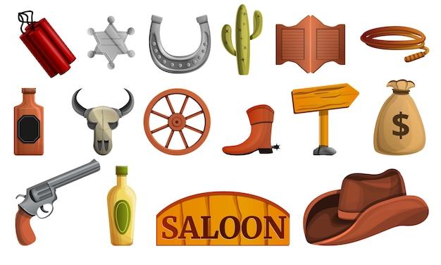 Saloon icon set, cartoon style Premium Vector