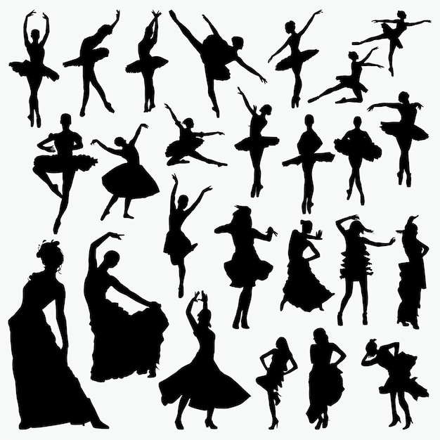 Salsa ballet dancer silhouettes Premium Vector