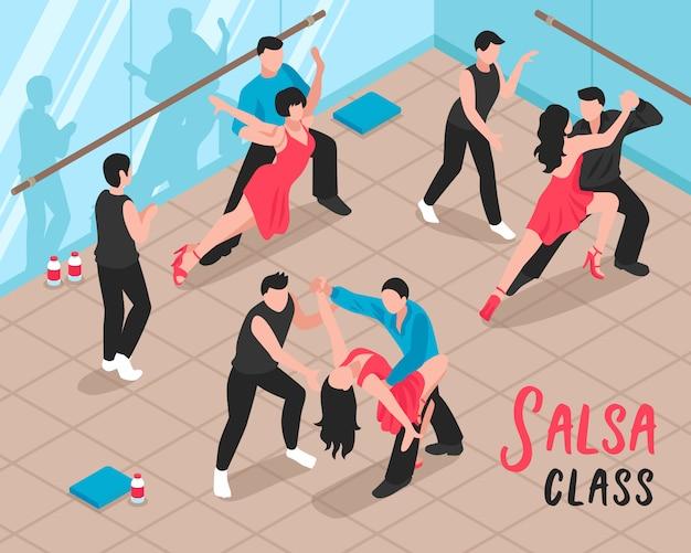 Salsa class people isometric illustration Free Vector