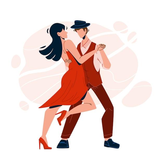 Сальса танцы выступление пара танцоров Premium векторы