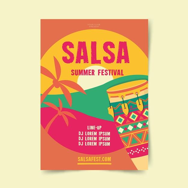 サルサ夏祭りポスターテンプレート 無料ベクター