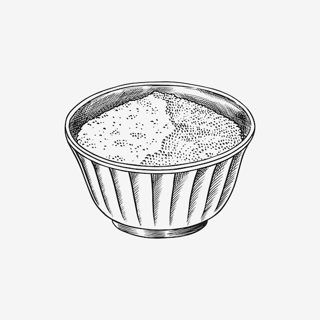 ボウルに塩または砂糖。ヴィンテージスタイルのスパイスやシリアル。調理材料。手描きの刻印 Premiumベクター