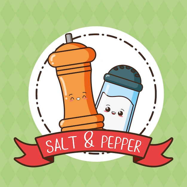 Salt and pepper kawaii, illustration Free Vector