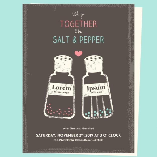 Salt and pepper, wedding invitation Free Vector