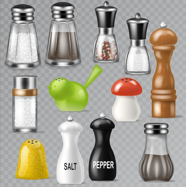 Salt shaker design pepper bottle glass container and wooden kitchen utensil saltshaker decor illustration set of salty cooking ingredients black-pepper isolated on transparent background Premium Vector
