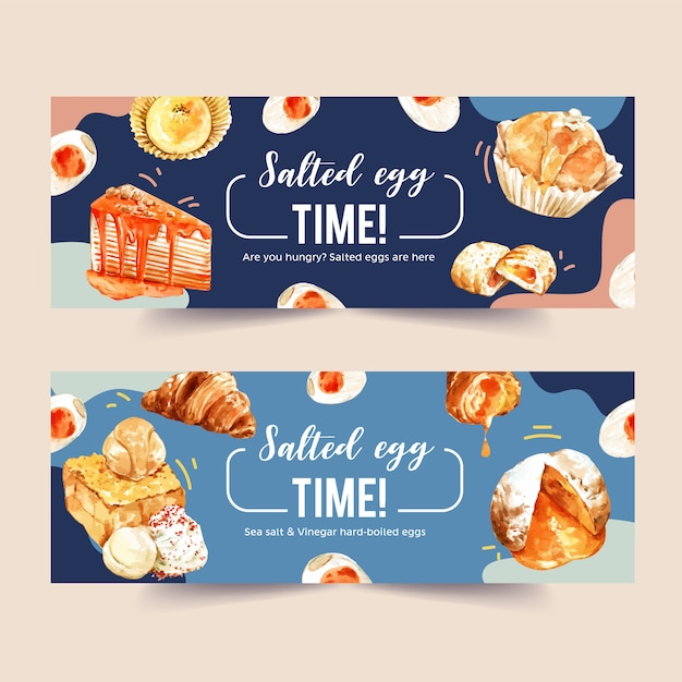 Salted egg banner design with croissant, crepe cake, toast watercolor illustration. Free Vector