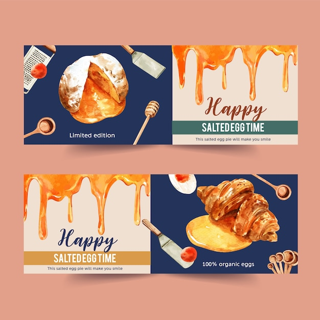 Salted egg banner design with honey dipper, choux cream, croissant watercolor illustration. Free Vector
