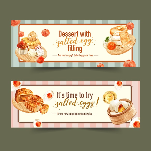 Salted egg banner design with honey toast, moon cake, pancake  watercolor illustration. Free Vector