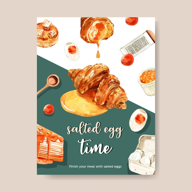 Salted egg card design with measuring spoon, croissant, tart  watercolor illustration. Free Vector
