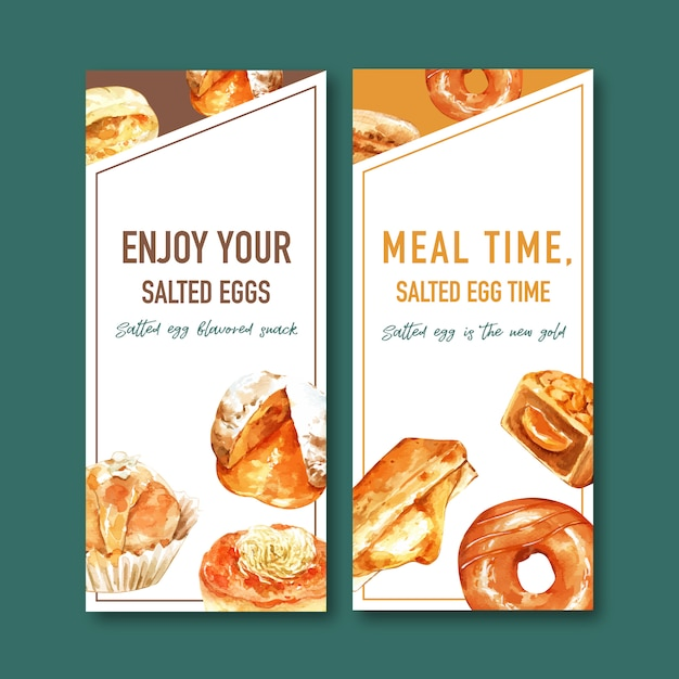 Salted egg flyer design with donut, stuffed bun watercolor illustration. Free Vector
