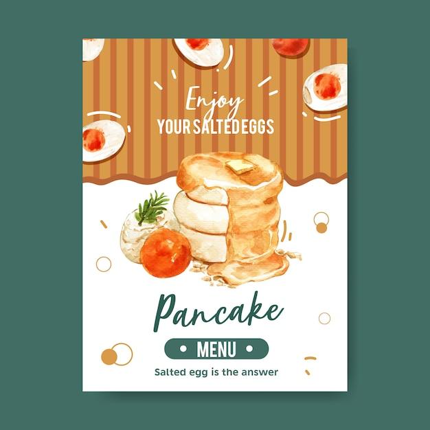 Salted egg menu card design with leaf, pancake, cream watercolor illustration. Free Vector