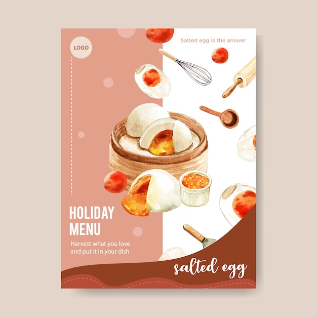 Salted egg menu design with steamed stuff bun, rolling pin watercolor illustration. Free Vector