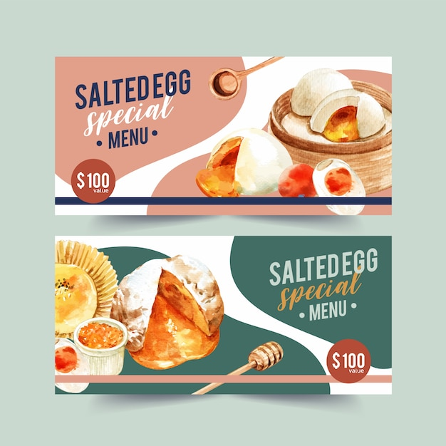 Salted egg voucher design with stuffed bun, spoon, cupcake watercolor illustration. Free Vector