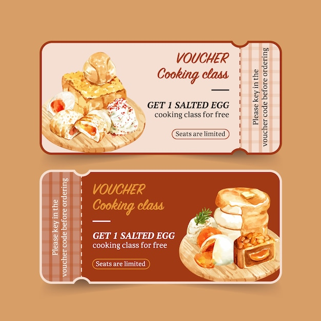 Salted egg voucher design with stuffed bun, toast watercolor illustration. Free Vector