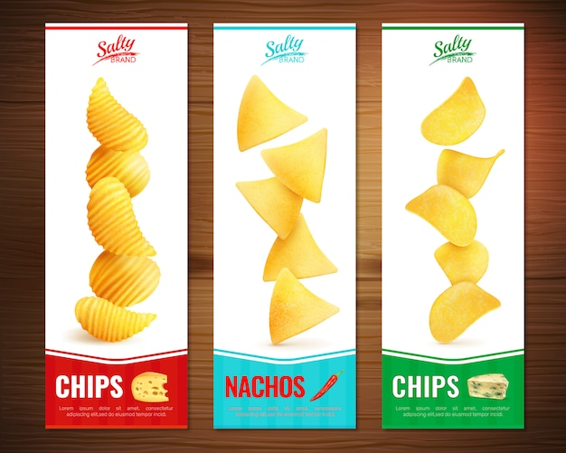 Salty chips vertical banners Free Vector