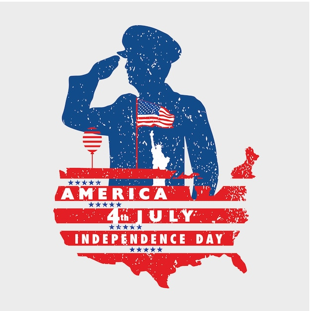 Salute to freedom of america on 4th july with grunge banner Premium Vector