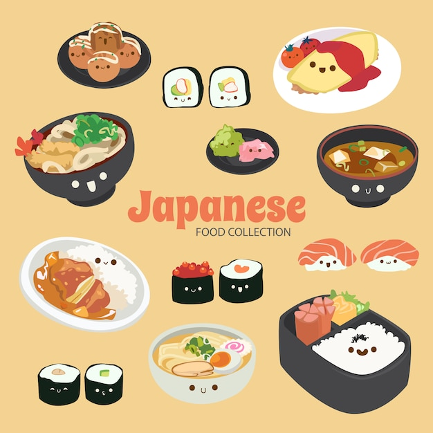 Sam cute rainbow food objects collection Premium Vector