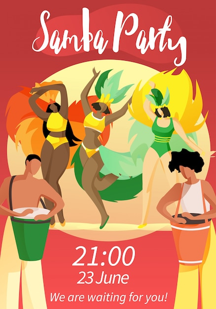 Samba party 21:00 6月23日私たちはあなたを待っています! Premiumベクター