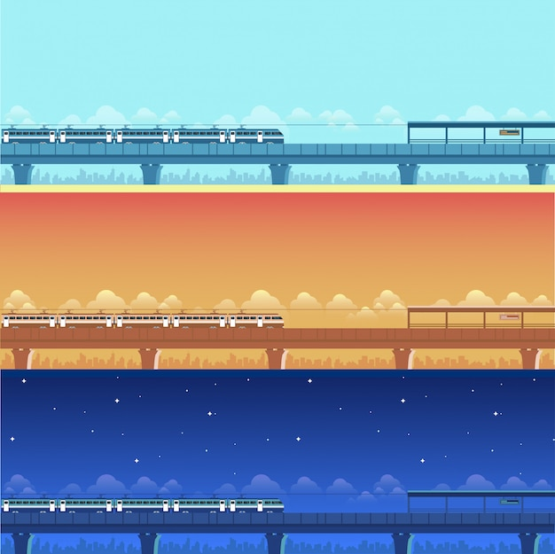 Same train station different time banners Premium Vector