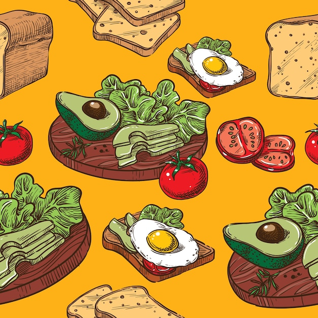 卵とアボカドのサムレススケッチトースト Premiumベクター