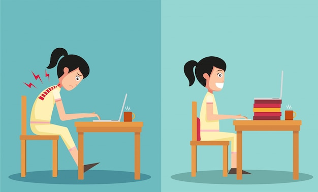 The sample of the guy sitting in wrong and right ways Premium Vector