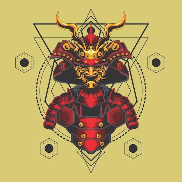 Samurai armor sacred geometry Premium Vector