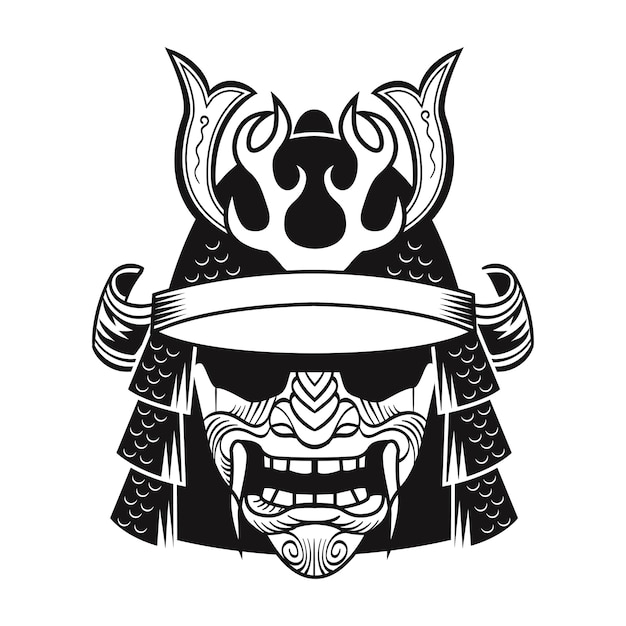 Samurai in black mask. japan traditional fighter. vintage isolated vector illustration Free Vector