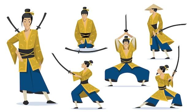Samurai in different poses set. traditional japanese warriors wearing kimono, walking, meditating, training fighting skills. Free Vector