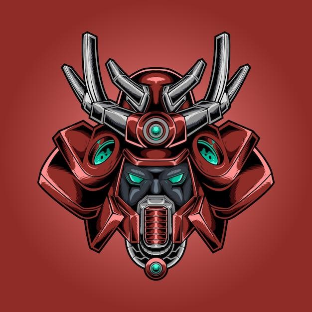 Samurai head robotic helmet Premium Vector