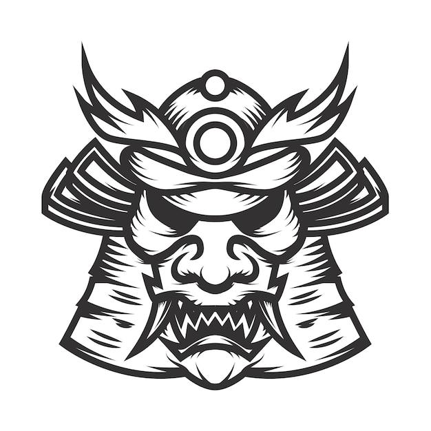 Samurai helmet illustration on white background.  element for logo, label,emblem, sign.  illustration Premium Vector