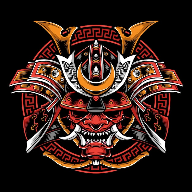 Samurai helmet with oni mask Premium Vector